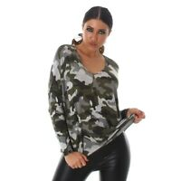 Ladies Green Camouflage Military Sweater Knit Top Wool Blend Relaxed Boxy