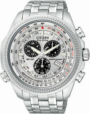 Citizen Men's Eco-Drive Chrono White Tone Dial Stainless Steel Watch BL5400-52A