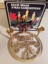 New In Box World Bazaar Solid Brass Christmas Candle Sticks