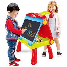 4 in 1 Kids Folding Plastic Drawing Board Projector Study Table Easel Carry Case