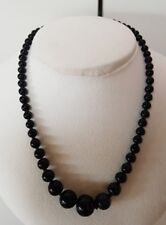 Vintage 151Ct Car ved Black Stone Knotted Onyx or Jade Bead Necklace 30 Grams