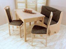Essgruppe 4-tlg. Tisch-Ausziehbar Stühle Truhenbank Bank Farbe: Buche/Schoko