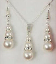 1 set 6-8-10mm bridal white shell pearl & crystal pendant earrings