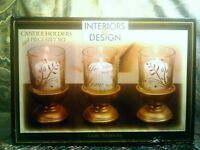 HOLIDAY FLOWER HOME DECOR 3 GOLD FLORAL GLASS GLITTER CANDLE HOLDER & WOOD BASE