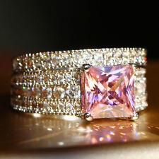Fashion Pink Sapphire Birthstone 925 Silver Filled Wedding Bridal Ring Set Size8