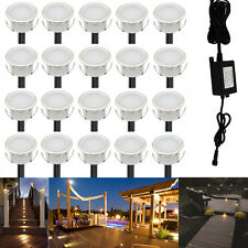 20X Warm White 12V LED Deck Lights Outdoor Garden Yard Stair Path Landscape Lamp