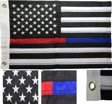 "12x18 Embroidered Sewn USA Thin Red Blue Line Nylon Flag 12""x18"" Grommets"