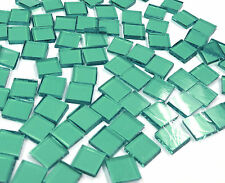 "110 Mosaic Tiles 1/2"" Earthy Sage Green Artique Transparent Stained Glass"