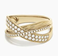 NEW! Exquisite Diamond & Gold Crossover Ring / Effy/ Size 7/MSRP $2,705