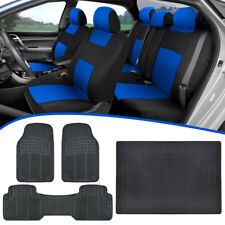 Universal Car Seat Covers, All Weather Mats w/ Runner, Cargo Liner - Blue/Black