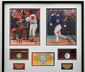 """1998 """"A Piece Of History"""" Sosa/McGwire Limit Edition 22/298 Game Used Bat Pieces"""