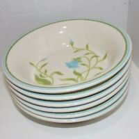 """Set of 6 Franciscan Earthenware Blue Bell Soup Cereal Bowls 7"""""""