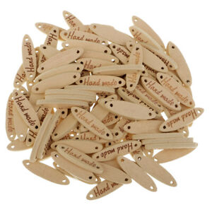 """100pcs Wooden 2 Holes Tags Embellishments for Sewing Craft with""""handmade"""""""