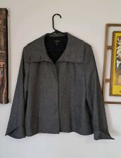 Talbots Wool Coat Jacket 14 Blazer Gray Black Pleated EUC