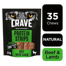 7 x 55g Crave Protein Strips Natural Meaty Dog Treats with Beef & Lamb
