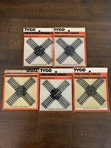 Lot Of 5 TYCO HO SCALE TRU-STEEL CROSS TRACK 90 DEGREE # 415 RAILROAD CROSSING