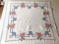 """VINTAGE HAND EMBROIDERED Crochet Edge WHITE LINEN TABLECLOTH 34x35"""" Ready To Use"""
