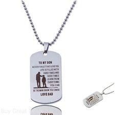 Personalized Silver Photo Dog Tag Necklace Customed Father Son Pendant Birthday