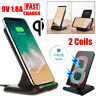 9V Qi Fast Wireless Charger Holder Dock Station Stand For iPhone 8 X Samsung S8