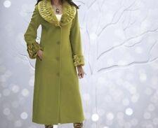 Women's Winter Fall faux fur trim Lamb'sWool blend long coat jacket plus1X $320