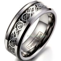 8mm Polished Celtic Dragon Inlay Tungsten Carbide Ring Men's Band Size 5-15