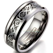 8mm Mens Polished Celtic Dragon Inlay Tungsten Carbide Wedding Ring Band SZ 5-15