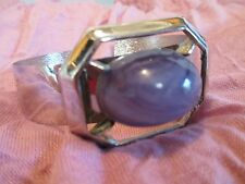 Vintage Amethyst Glass Oval Cabochon Shiny Stainless Steel Cuff Bracelet Jewelry