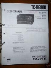 Manuale di Servizio per Sony TC-H6800 Cassetta Deck, Originale