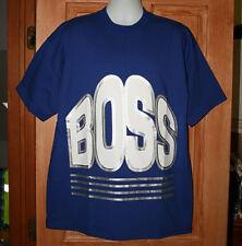 VINTAGE BOSS LOGO HUGE PRINT T-SHIRT XL Made in USA  BIG PRINT