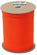 SAFETY ORANGE 550LB 7 Strand 100%Nylon US Made Parachute Paracord 1000 FT 218