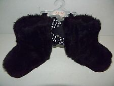 Stepping Stones Infant Baby Girl~BLACK~Booties BOOTS~Sz 2~Plush~Polka Dot Bows