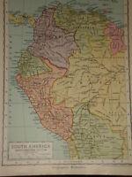 1929 Enciclopedia Britannica Mapa S.America Norte West