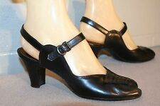 7.5 N  Vintage 40s NOS BLACK PEEPTOE SWING CUBAN HEEL SLINGBACK LEATHER NEW SHOE