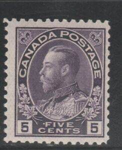CANADA  # 112 F MH  5cts 1922 KGV ADMIRAL ISSUE /VIOLET CAT VALUE $60