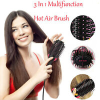 3 In1 Multifunction Hot Air Brush Hair Electric One Step Straightening Curler US