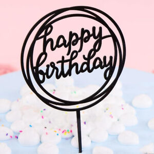 Acrylic HAPPY BIRTHDAY Cake Topper Card Cakes Insert Decor Party Home Supplies