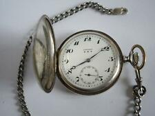 "Vintage ""Longines - Grand Prix "" Men's Silver Pocket Watch Swiss Made + chain"