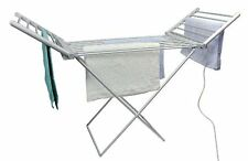 Heated Foldable Airer Laundry Hanger Winter Washing Dryer Home Space Clean White