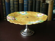1940's James Kent Ltd Embossed Majolica Footed Cake Plate