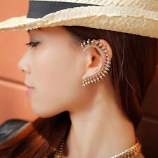 Hot Gold Celebs Crystal Rhinestone Ear Cuff Wrap Clip On Earring Studs Punk Rock