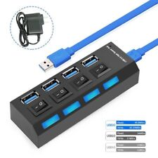 4 Ports Powered USB 3.0 HUB Splitter 5Gbps High Speed External AC Power Adapter
