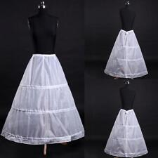 3-Hoop A-Line White Long Dress Wedding Gown Crinoline Petticoat Underskirt Slip~