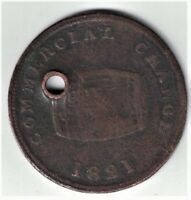 COMMERCIAL CHANGE 1821 HALFPENNY CASK MARKED - UPPER CANADA COPPER TOKEN HOLED