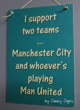 Manchester City versus Man United Football Wooden Bar Pub Office Sign