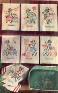 Hand Embroidery Transfer 5201 Poodles for seven Days of the Week dish towels