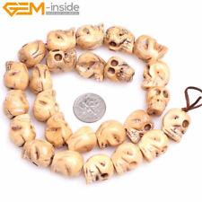 1.2mm Hole Buffalo Bone Carved Skull Loose Beads For Jewelry Making Halloween