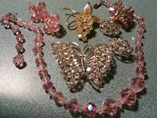 FANTASY RHINESTONE CRYSTAL VINTAGE JEWELRY LOT PINK SPARKLE NECKLACE BUTTERFLY