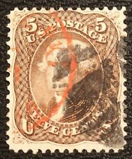 #76 VF USED 5¢ THOMAS JEFFERSON 1863 with RED CITY AND FANCY CANCEL (REM #76-82)