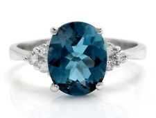3.20 Carat Natural London Blue Topaz and Diamonds in 14K Solid White Gold Ring