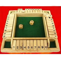 Shut the Box Game Wooden Board Number Drinking Dice Toy Family Traditional  ER